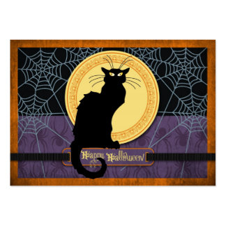 Black Cat and Spider Webs on Halloween Night Large Business Card