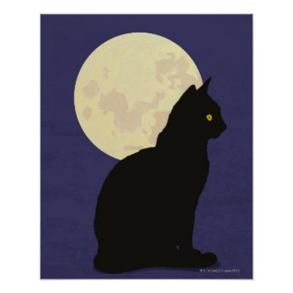 Black Cat and the Moon Poster