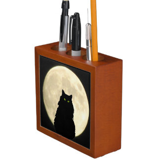 Black Cat and White Moon Desk Organizer