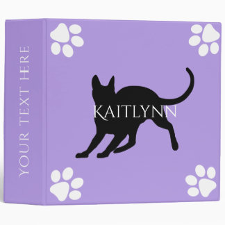 Black Cat and White Paws on Lavender 3 Ring Binders