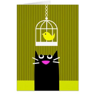Black Cat and Yellow Bird Card