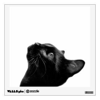 Black cat animal portrait black and white wall sticker