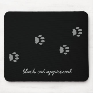 Black Cat Approved Paw Print Mousepad