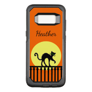 Black Cat Arched Back in Full Moon on Fence OtterBox Commuter Samsung Galaxy S8 Case