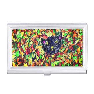 black cat art 2 business card holder