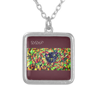 black cat art 2 silver plated necklace