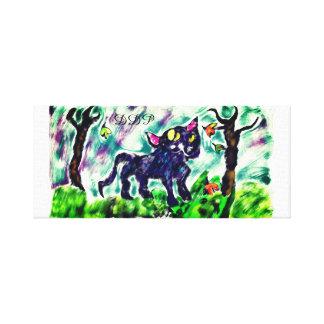 black cat art canvas print