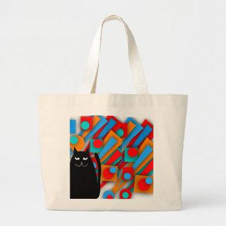 Black Cat Art Gifts Large Tote Bag