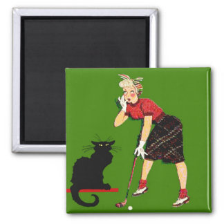 Black Cat At Golf Magnet