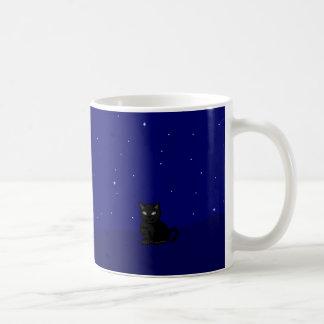 Black cat at night pixel art coffee mug