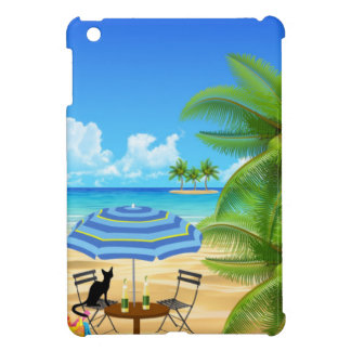 BLACK CAT AT THE BEACH. BEACH PALM TREE IPAD CASE