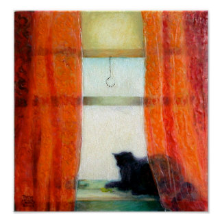 Black Cat at the Window Poster