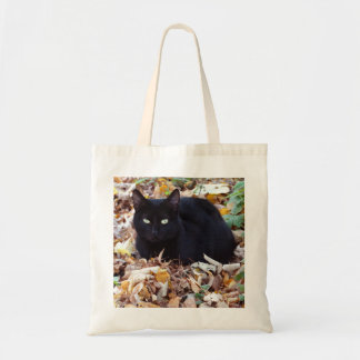Black cat Autumn leaves Budget Tote