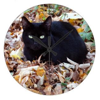 Black cat Autumn Photo Round (Large) Wall Clock