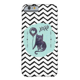Black Cat Balloon Kitty Watercolor ZigZag xoxo Barely There iPhone 6 Case