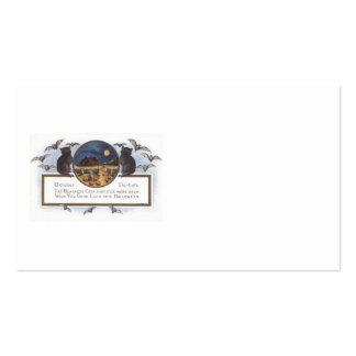 Black Cat Bat Farm Pumpkin Haystack Full Moon Business Card Template
