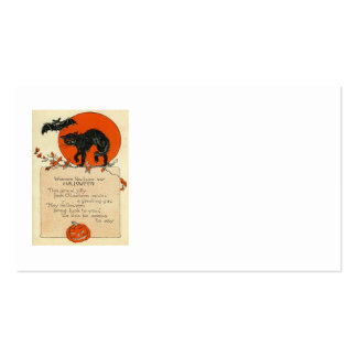 Black Cat Bat Full Moon Fall Leaves Pack Of Standard Business Cards