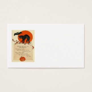 Black Cat Bat Full Moon Fall Leaves Business Card