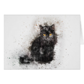 Black Cat Beauty | Abstract | Watercolor Card