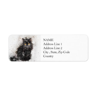 Black Cat Beauty | Abstract | Watercolor Return Address Label