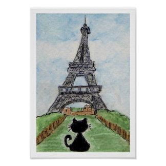 Black Cat Black Chat Eiffel Tower Watercolour Poster