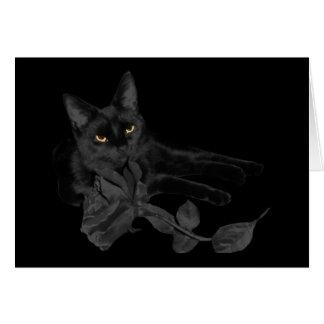 Black cat Black Rose Greeting Card