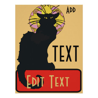 Black Cat,  Blank, edit text Poster