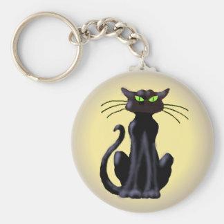 BLACK CAT by SHARON SHARPE Basic Round Button Keychain