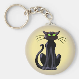 BLACK CAT by SHARON SHARPE Keychain