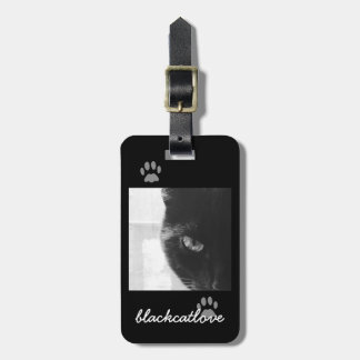 Black Cat Carrier Luggage Tag - Add your pet photo