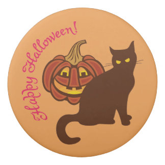 Black cat celebrates Halloween. Eraser
