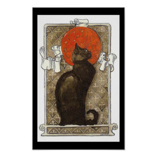 Black Cat / Chat Art Nouveau Poster