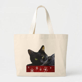 Black Cat Christmas Jumbo Tote Bag