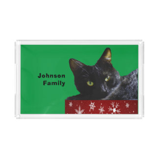 Black Cat Christmas on Snowflakes Red Serving Tray