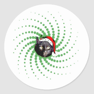 Black Cat Christmas Round Sticker
