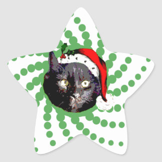 Black Cat Christmas Star Sticker