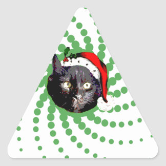Black Cat Christmas Triangle Sticker