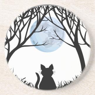 Black Cat Coaster Fat Cat Art Decor Cat Lover Gift