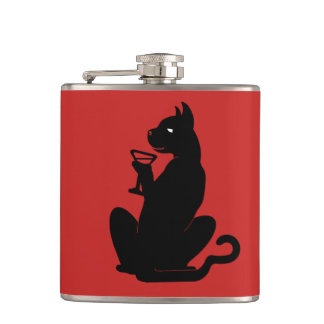 BLACK CAT COCKTAIL by Slipperywindow Hip Flask