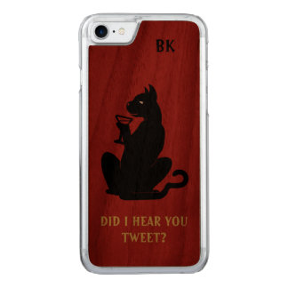 BLACK CAT COOL COCKTAIL by Slipperywindow Carved iPhone 8/7 Case