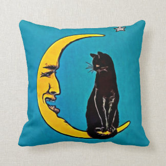 BLACK CAT & CRESCENT MOON PILLOW