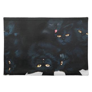 Black Cat Cuddle Placemat