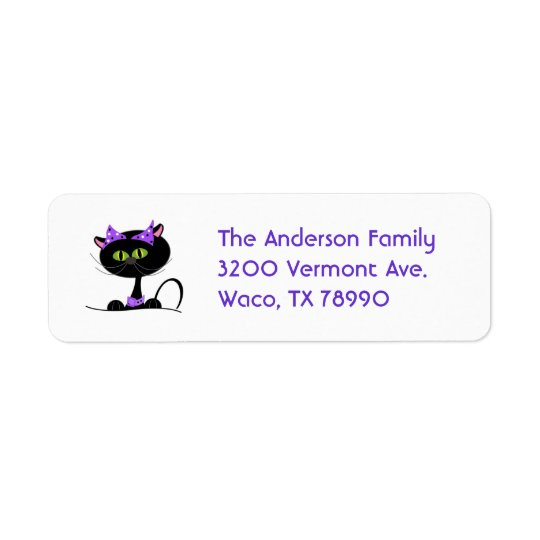 Black Cat Custom Address Label