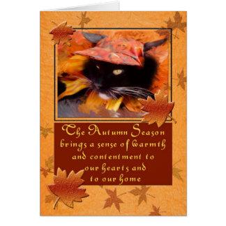 Black Cat Deluxe Thanksgiving Card