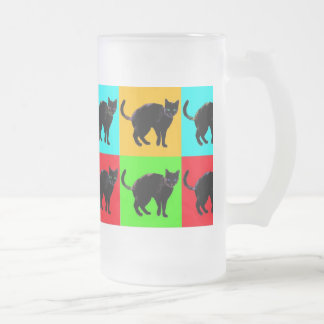 Black Cat Design Frosted Glass Mug