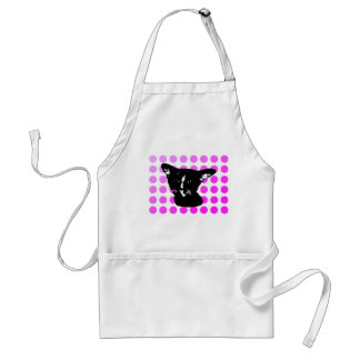 Black Cat Dot Apron Pink