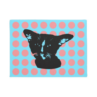 Black Cat Dots Doormat