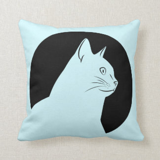 Black cat drawing both side throw pillow