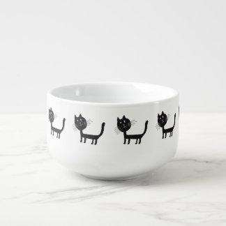Black Cat Drawing  Soup Mug