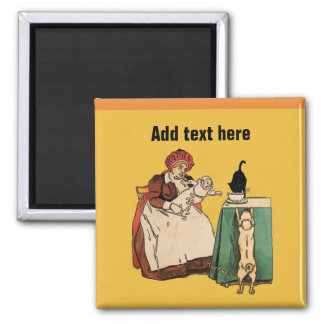 Black Cat eating bay food. add text Magnet